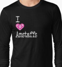 Camiseta de manga larga I Heart Amstaffs   Love American Staffordshire Terriers - raza de perro