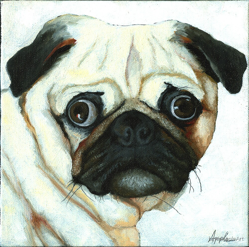 Love at First Sight - Pug painting by LindaAppleArt
