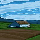 Grange et champ - Barn and Field, Pixel Art by Dominic Beaudoin