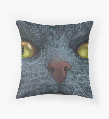 Cat Visions - cat portrait oil painting  Throw Pillow