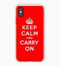 KEEP CALM AND CARRY ON (BLACK) iPhone Case
