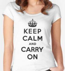 KEEP CALM AND CARRY ON (BLACK) Women's Fitted Scoop T-Shirt