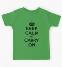 KEEP CALM AND CARRY ON (BLACK) Kids Clothes
