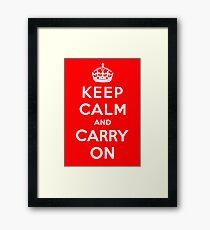 KEEP CALM AND CARRY ON (BLACK) Framed Print