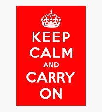 KEEP CALM AND CARRY ON (BLACK) Photographic Print