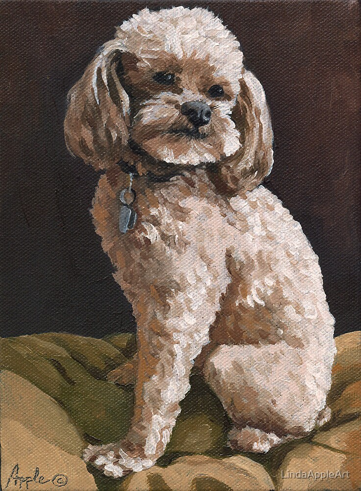 Chloe - poodle dog portrait painting by LindaAppleArt