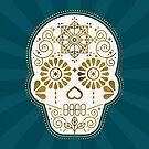 Día de Muertos Calavera • Mexikanische Zuckerschädel - Teal & Bronze Palette von Cat Coquillette