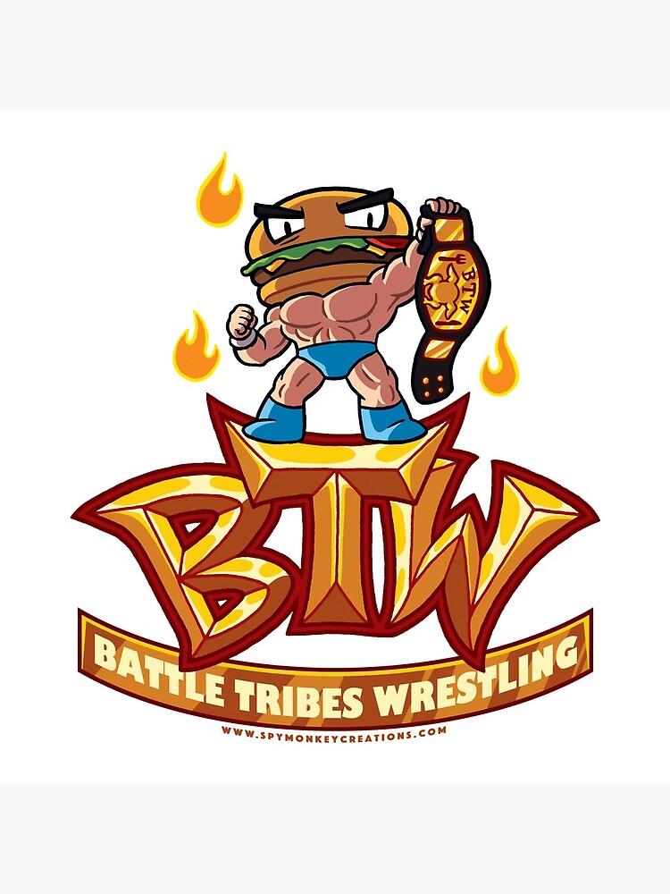 BTW - Battle Tribes Wrestling Logo featuring Jimmy Cheeseburger by spymonkey