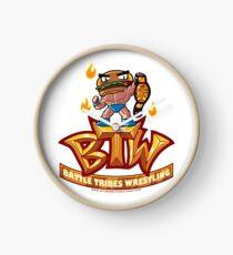 BTW - Battle Tribes Wrestling Logo featuring Jimmy Cheeseburger Clock