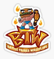 BTW - Battle Tribes Wrestling Logo featuring Jimmy Cheeseburger Sticker