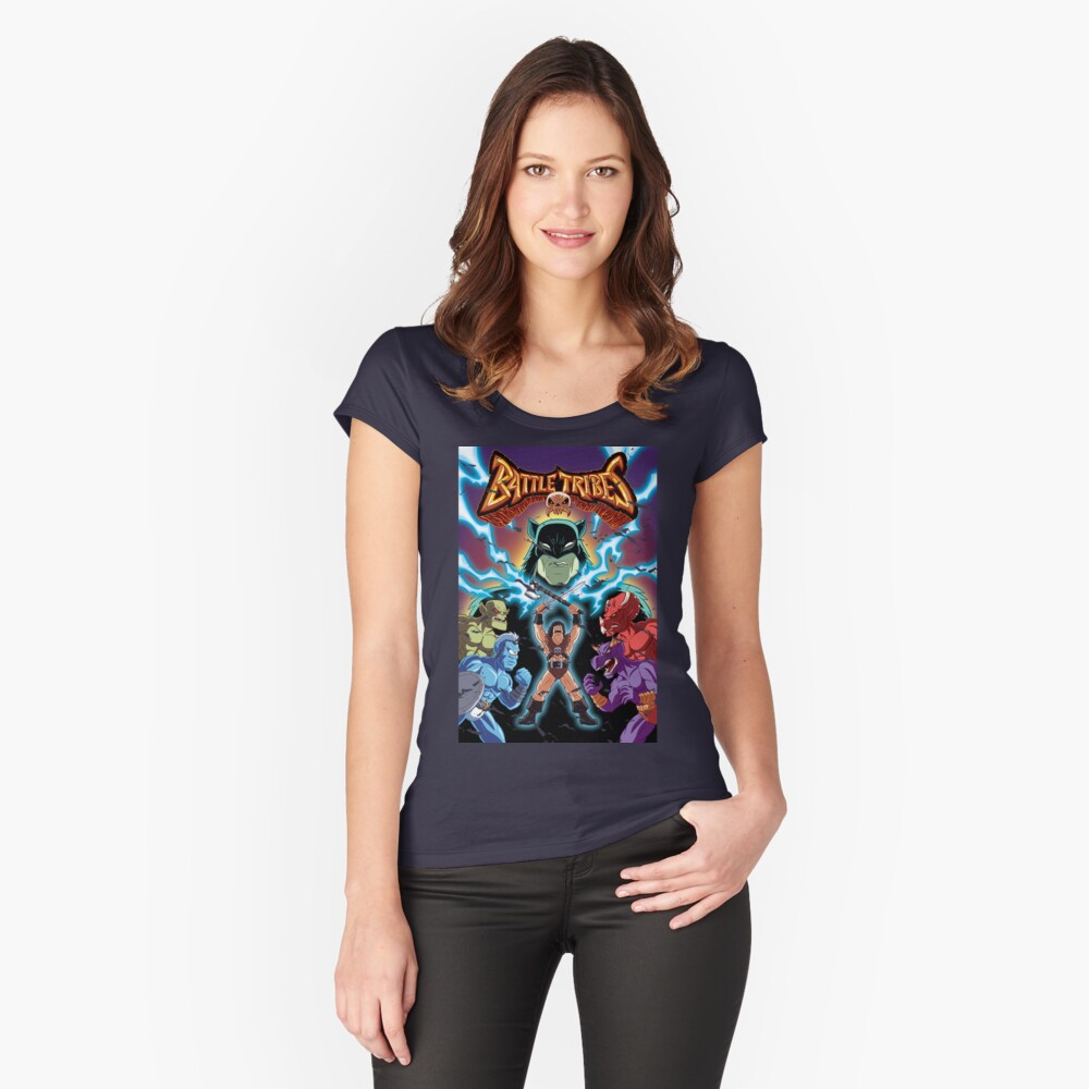 Battle Tribes Illustration (Distressed) Women's Fitted Scoop T-Shirt Front