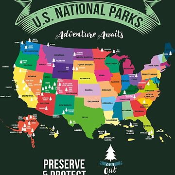 Hiking US National Parks Map Protect Gift by Sandra78