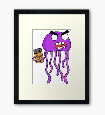 angry zombie jellyfish Framed Print