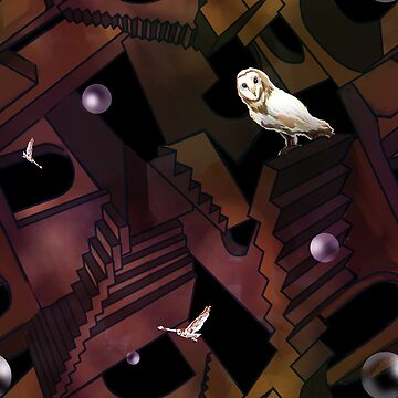 Owl King and Topsy-Turvy Staircases by sandpaperdaisy