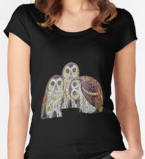 Three Owls In Mosaic Art Nouveau Style Women's Fitted Scoop T-Shirt