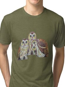 Three Owls - Art Nouveau Inspired by Klimt Tri-blend T-Shirt