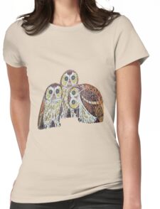 Three Owls - Art Nouveau Inspired by Klimt Womens Fitted T-Shirt