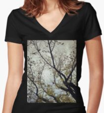 Birds Between The Trees Women's Fitted V-Neck T-Shirt