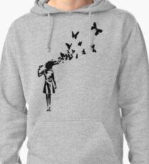 Banksy - Girl Shooting Her Head With Butterfly Design, Streetart Street Art, Grafitti, Artwork, Design For Men, Women, Kids Pullover Hoodie