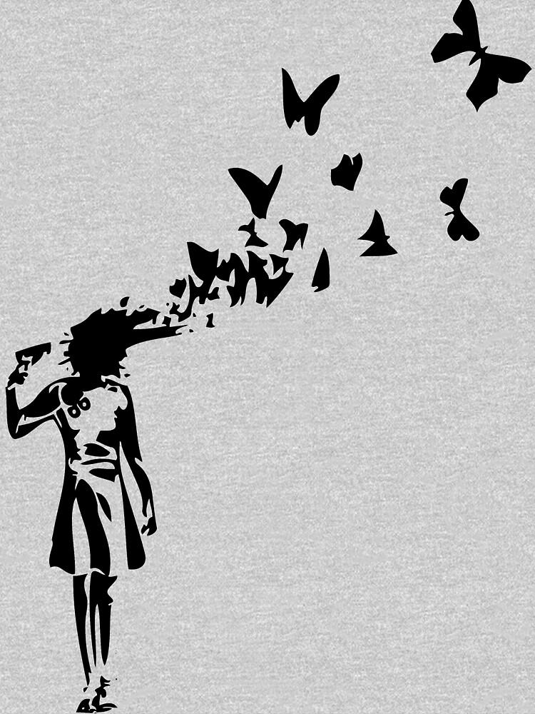 Banksy - Chica disparando a su cabeza con diseño de mariposa, Streetart Street Art, Grafitti, Obras de arte, Diseño para hombres, Mujeres, Niños de clothorama