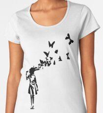 Banksy - Girl Shooting Her Head With Butterfly Design, Streetart Street Art, Grafitti, Artwork, Design For Men, Women, Kids Women's Premium T-Shirt