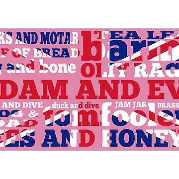 Pink Union Jack, Cockney Rhyming Slang by piedaydesigns