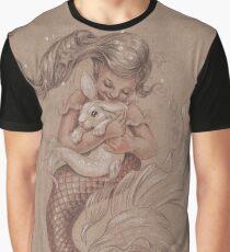 Mermaid mit ihrem Haustier Merbunny Grafik T-Shirt