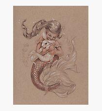 Mermaid avec son animal de compagnie Merbunny Impression photo