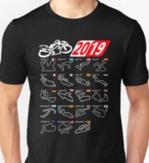MotoGp Calendar 2019 circuits Slim Fit T-Shirt