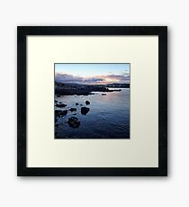 Sunset across the coastline near Ullinish on the west coast of Skye Framed Print