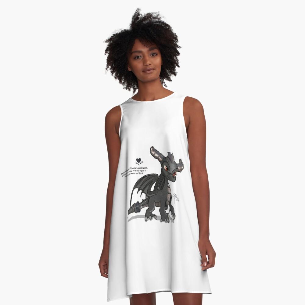 Dunkler Spyro A-Linien Kleid