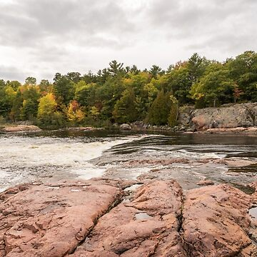Mississagi River - Whitewater Rapids and Pink Granite Riverbed  by GeorgiaM