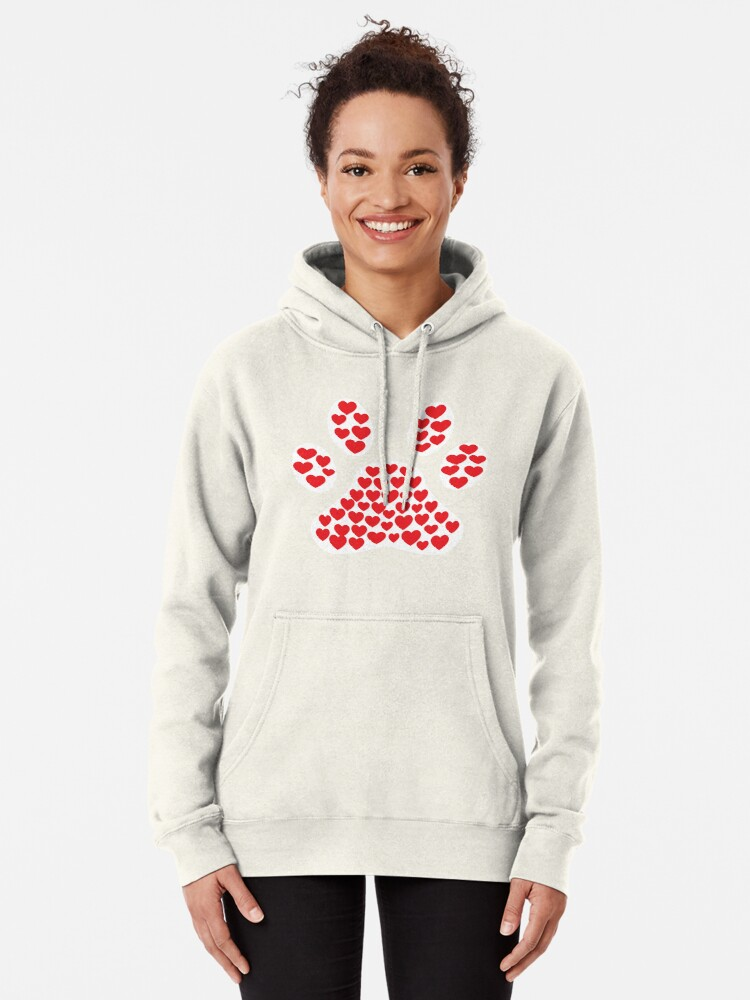 'Cute Love Dog Paw Print T-Shirt Filled With Hearts' T-Shirt by Dogvills