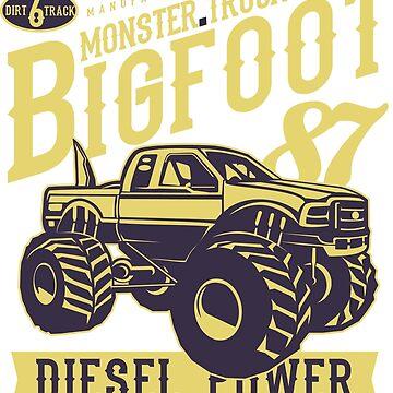 Bigfoot Monster Truck Diesel Power Vintage Poster Design  by ThatMerchStore