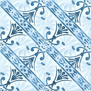 Blue tile pattern with stripes by creaschon