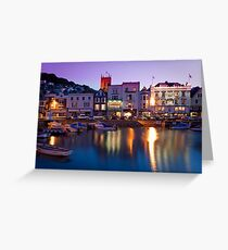Dartmouth Quayside at night Greeting Card