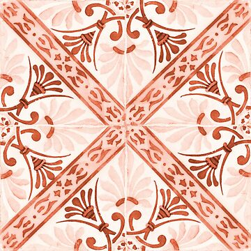 Red tile pattern with stripes by creaschon