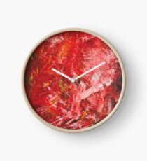 Abstract red painted artwork Clock