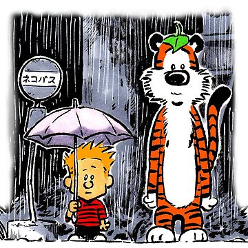 Calvin and Hobbes Inspired Parody Waiting for Cat Bus by Sketchbooks