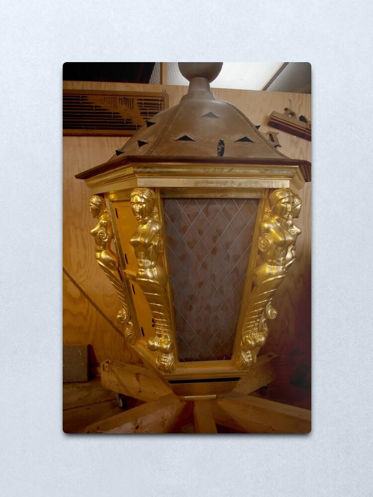 "Alternate view of Golden ship lantern for ""De 7 Provinciën"" Metal Print"
