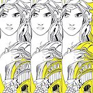 Three Muses Line Art by Deana Greenfield