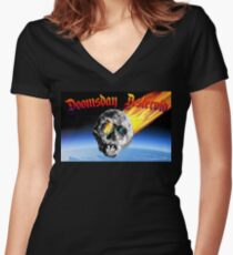 Doomsday Asteroid Women's Fitted V-Neck T-Shirt