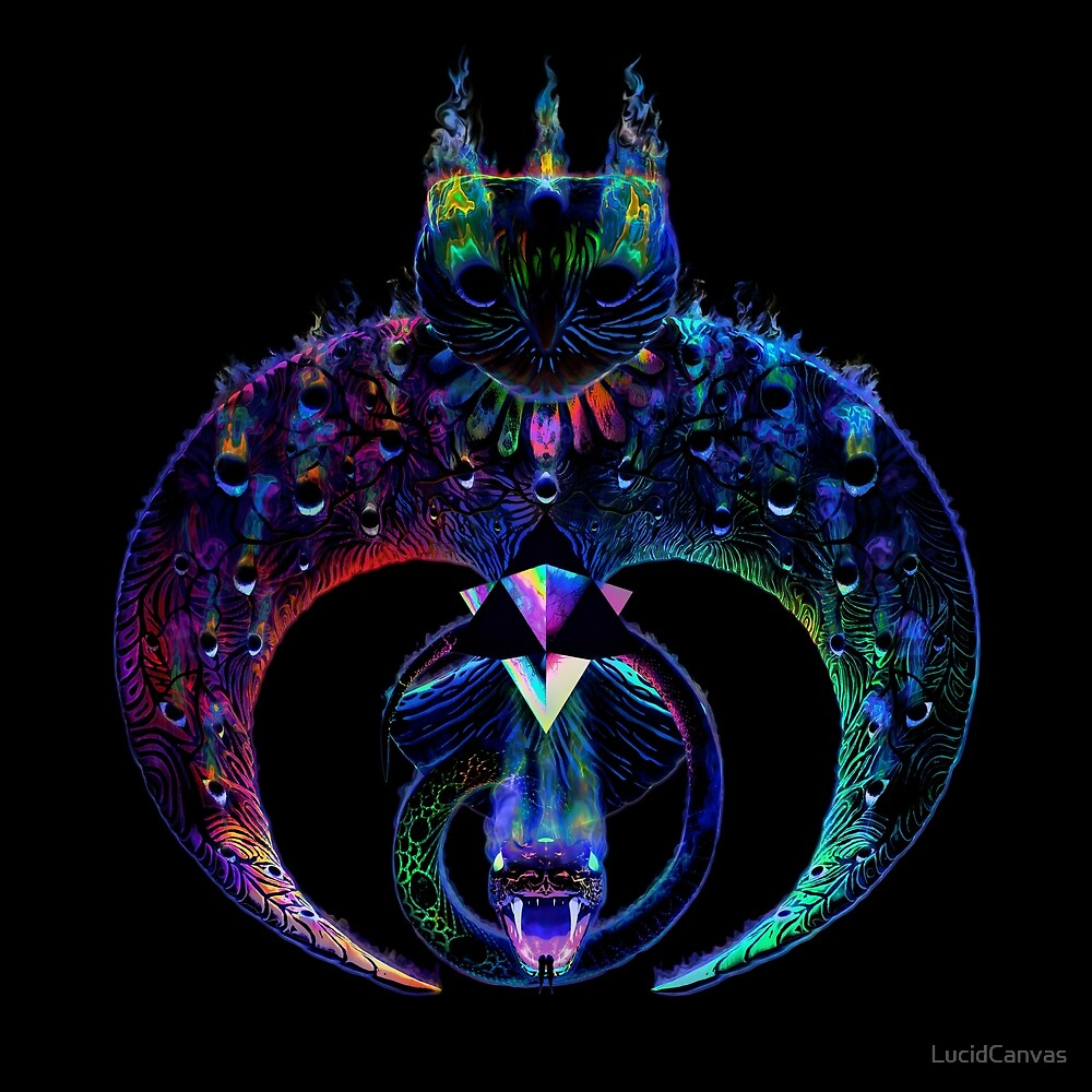 Owl & Snake Duality Totem by LucidCanvas