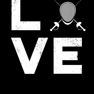 Love Fencing Typography Fencing Mask  Gift by DanH27