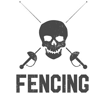 Fencing Vintage Skull and Swords Retro Gift by DanH27