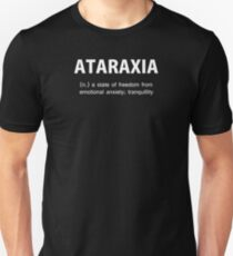 Ataraxia griechische Philosophie Text Slim Fit T-Shirt