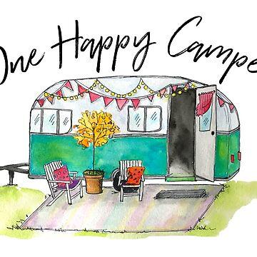 Happy Camper-Vintage Camper Watercolor by jstunkard