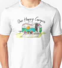 Happy Camper-Vintage Camper Watercolor Unisex T-Shirt