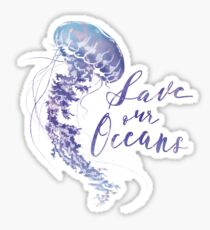 save our oceans jellyfish  Glossy Sticker