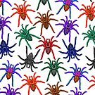 Spiders Colorful Halloween Tarantulas Pattern by BluedarkArt